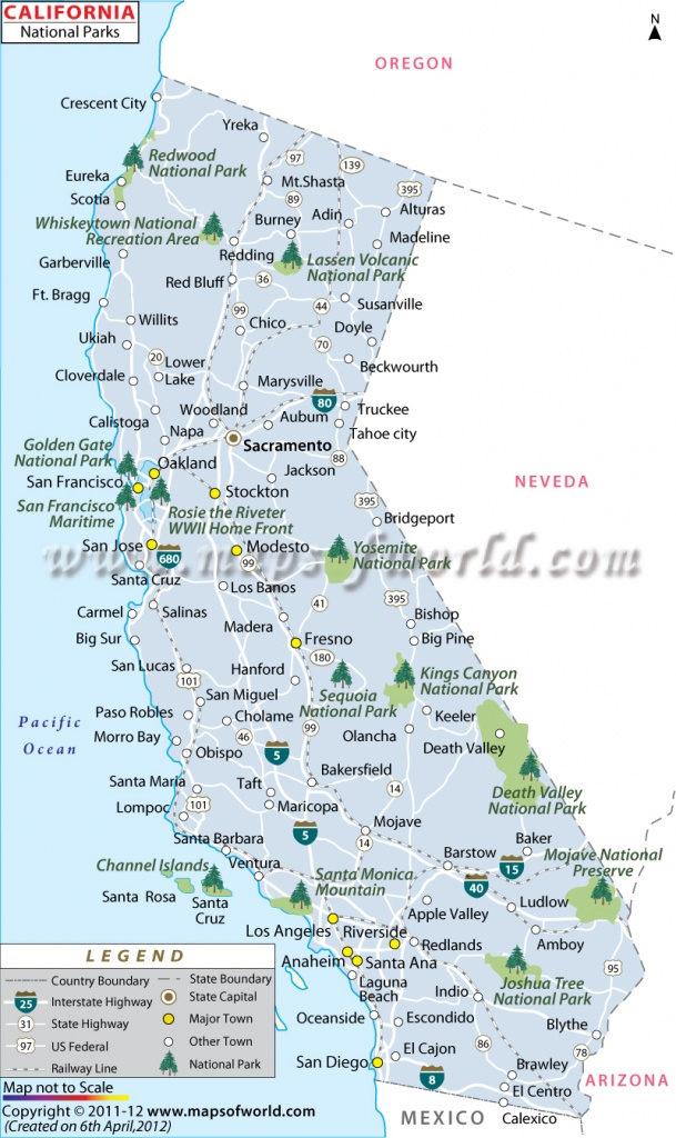 California National Parks Map, List Of National Parks In California - California State And National Parks Map