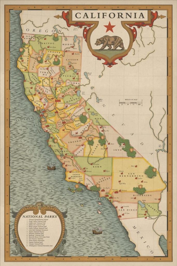 California National Parks Map Vintage California Map | Etsy - Vintage California Map