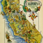 California Pictorial Map, 1946   Antique Map Of California