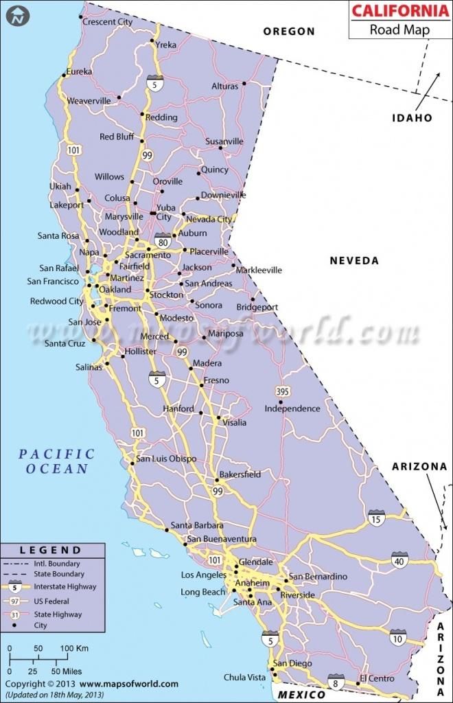 California Road Map, California Highway Map In California West Coast - Detailed Map Of California West Coast