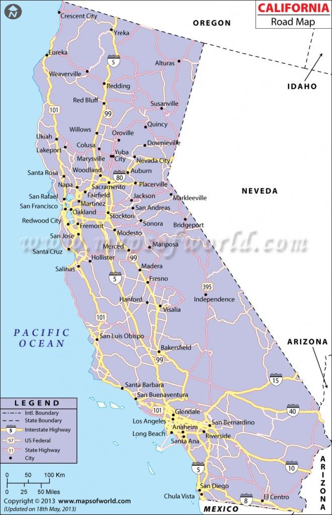 California Road Map, California Highway Map - Printable Road Map Of California