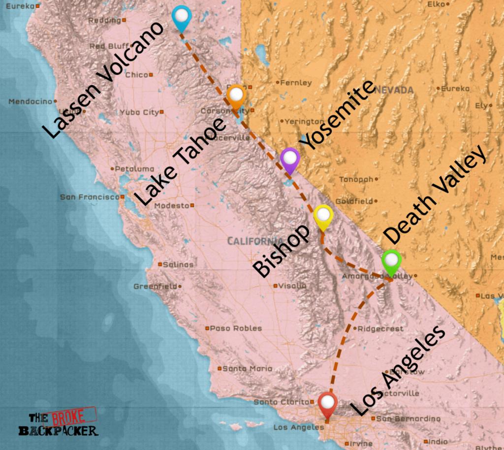 California Road Trip • Epic Budget Guide (July 2019) - California Road Trip Trip Planner Map