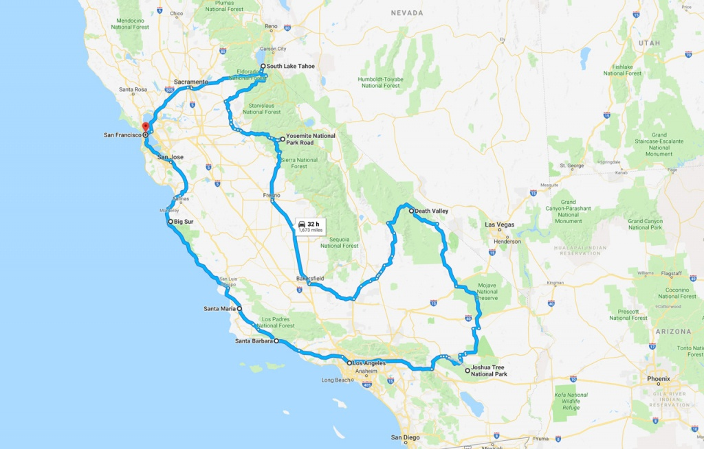 California Road Trip - The Perfect Two Week Itinerary | The Planet D - California Vacation Planning Map