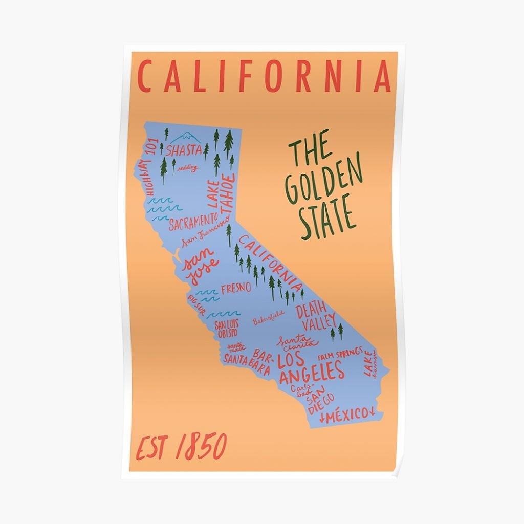"California State Map"" Posterrobinpinger | Redbubble - California Map Poster"