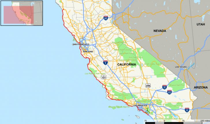Driving Map Of California With Distances