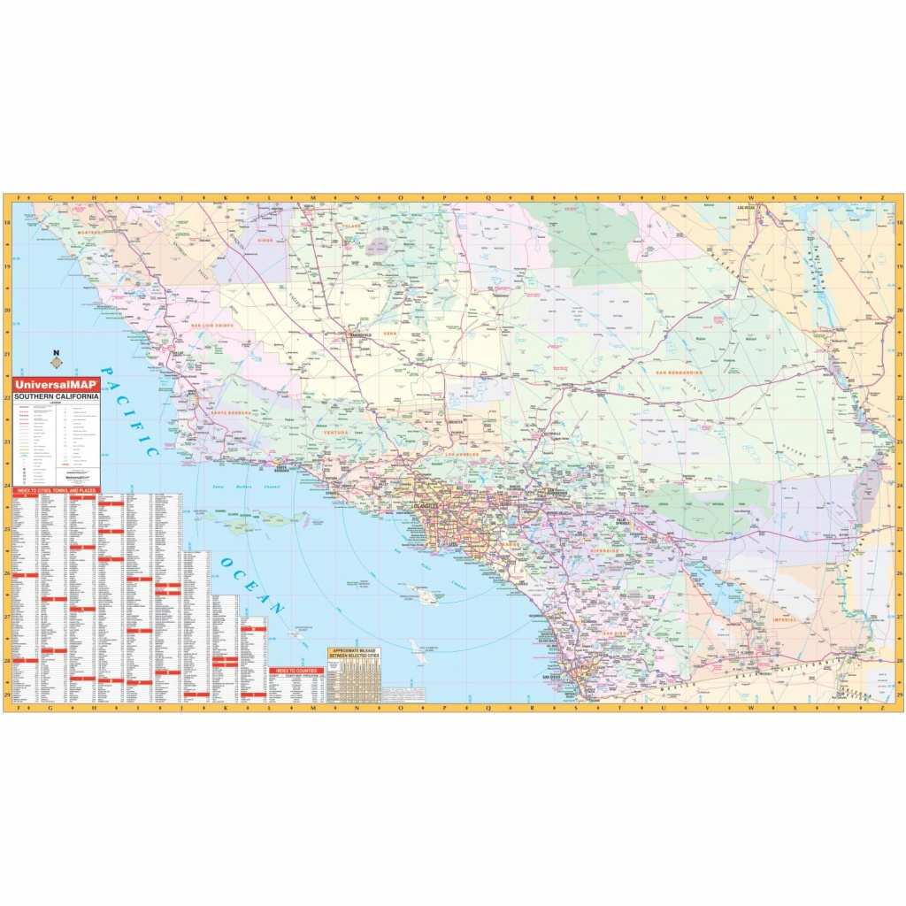 California State Southern Wall Map - The Map Shop - Southern California Wall Map
