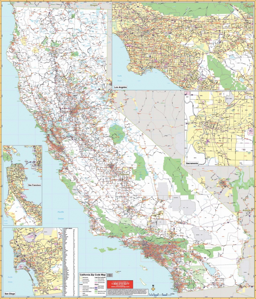California State Wall Map W/ Zip Codes - Large Wall Map Of California