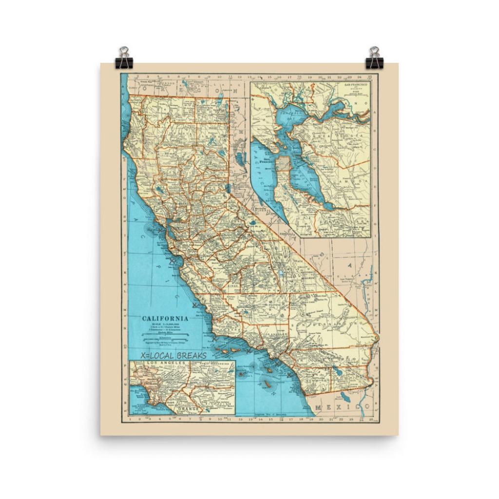 California Surf Poster Print California Surfing Spots Map | Etsy - California Surf Map