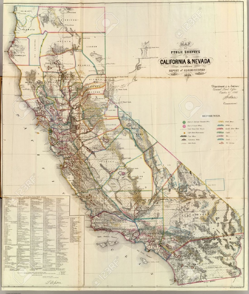 California Vintage Map Stock Photo, Picture And Royalty Free Image - Vintage California Map