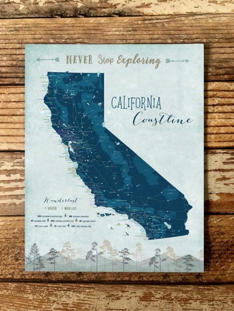 California Wall Art California Map California Print | Etsy - California Map Wall Art