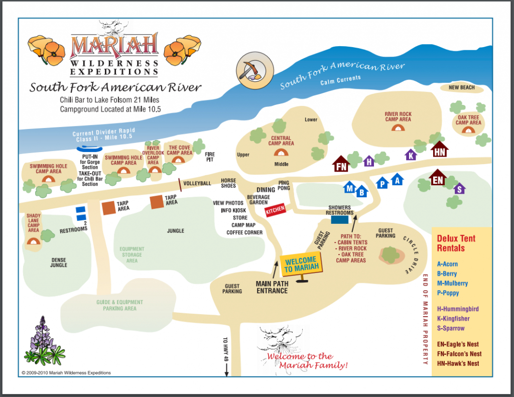 California Whitewater Rafting Camping And Lodging - Mariah - California Tent Camping Map