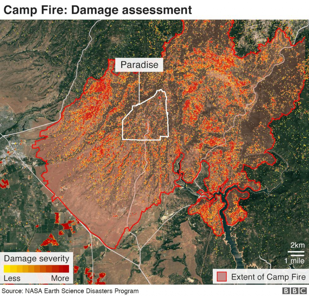 California Wildfires: Thanksgiving Hope From Ashes Of Paradise - Bbc - Map Of California Fire Damage