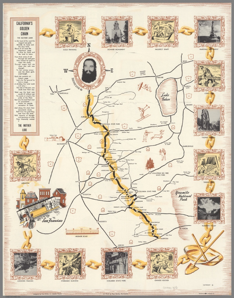 California's Golden Chain : The Mother Lode. - David Rumsey - California Mother Lode Map