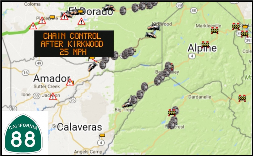 """Caltrans District 10 On Twitter: """"sr-88 Carson Pass Chains Required - California Chain Control Map"""
