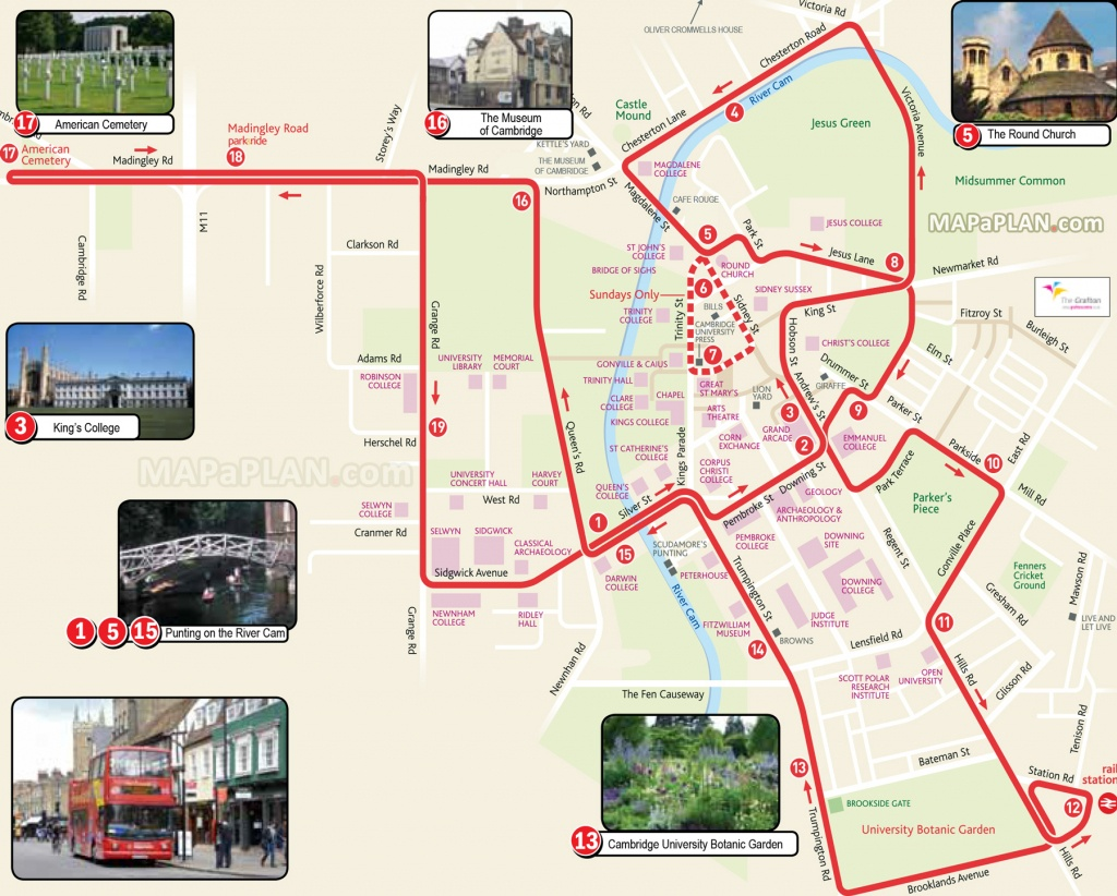 Cambridge Maps - Top Tourist Attractions - Free, Printable City - Cambridge Tourist Map Printable