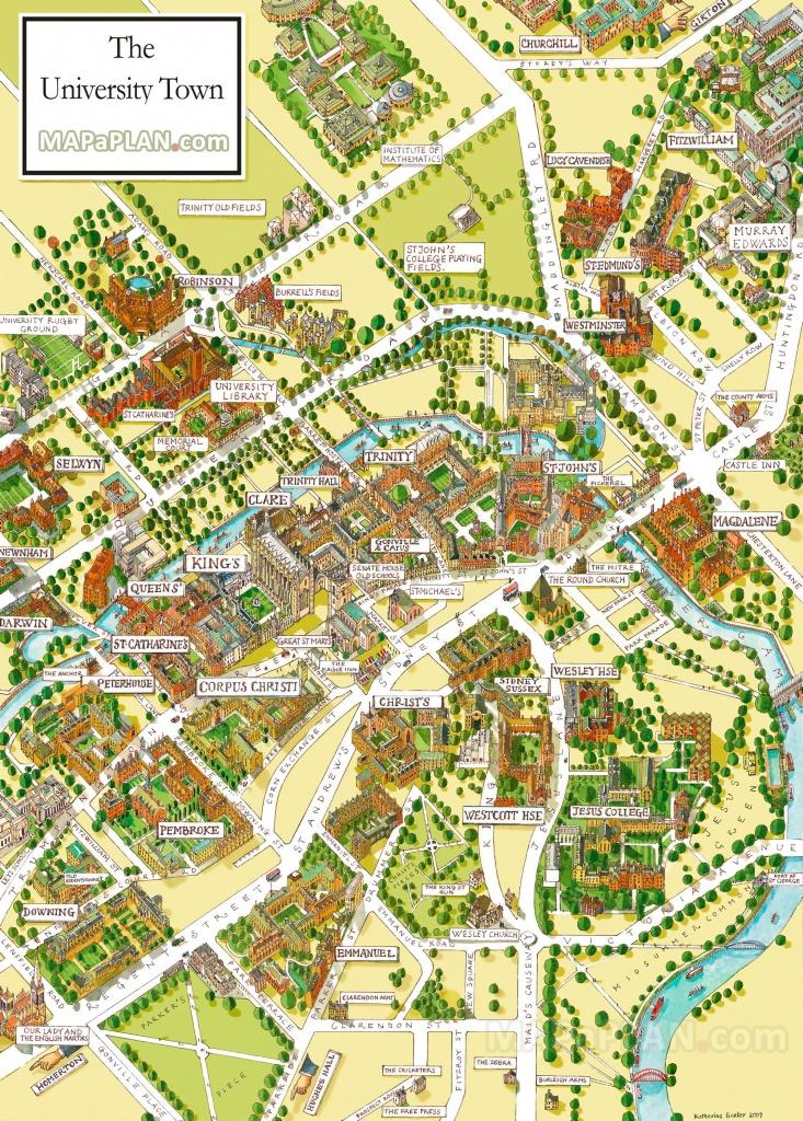 Cambridge University Campus Departments Colleges Birds Eye 3D Aerial - Cambridge Tourist Map Printable