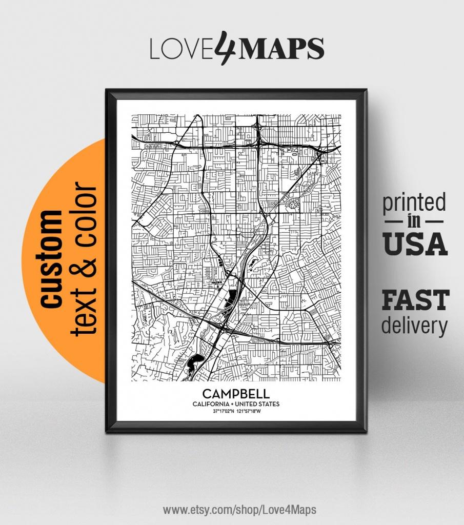 Campbell California Map Campbell City Print Campbell Poster   Etsy - Campbell California Map
