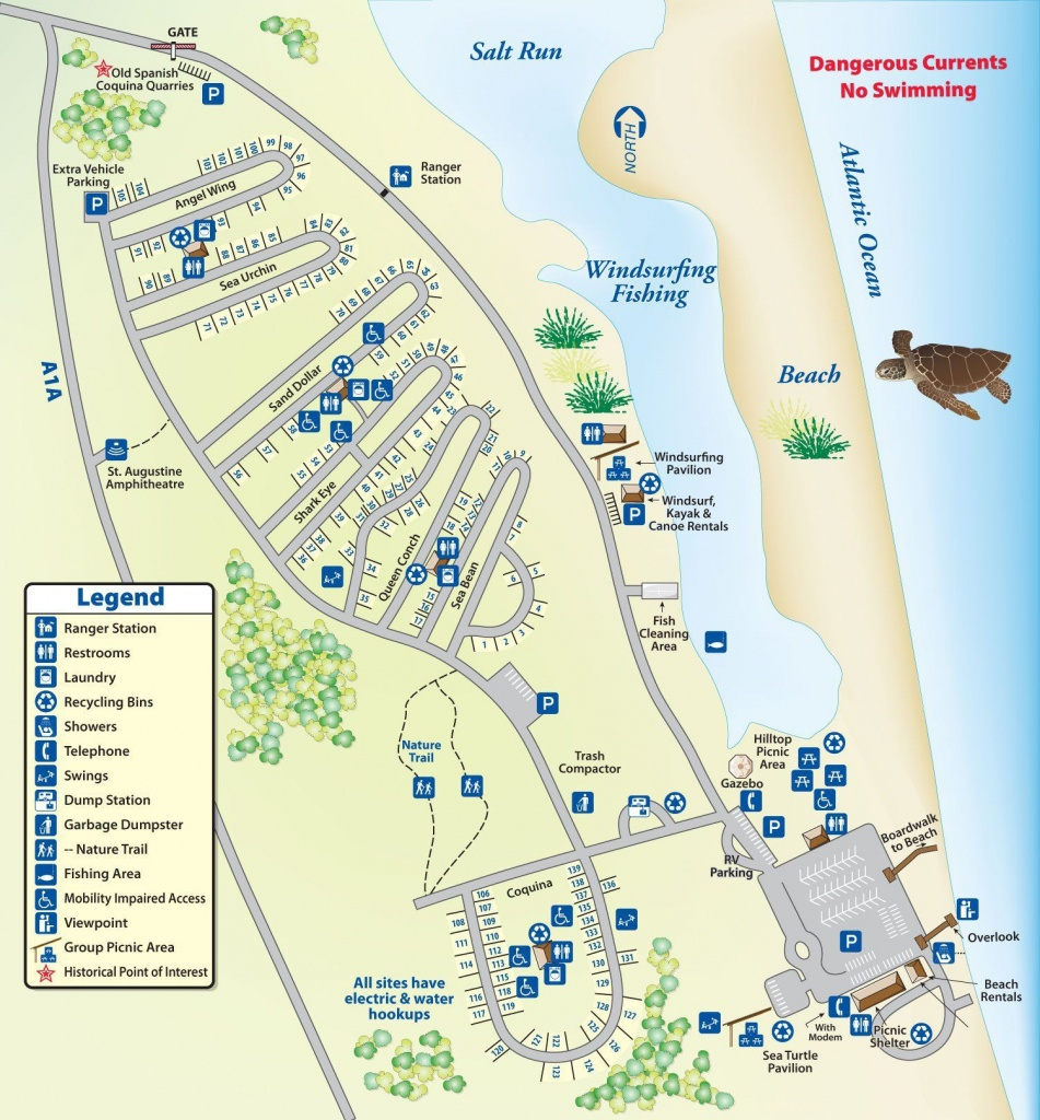 Campground Map Anastasia State Park   Florida   Florida Camping - Map Of Rv Parks In Florida