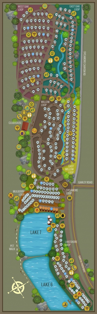 Campsite Map New - Santee Lakes - California Camping Sites Map