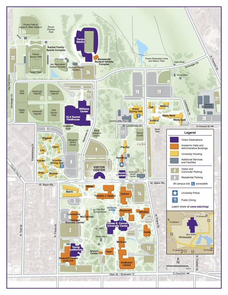 Campus Map | University Of Wisconsin-Whitewater - Uw Madison Campus Map Printable