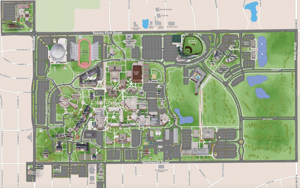 Campus Map | Wichita State University Online Visitor Guide - Printable Street Map Of Wichita Ks