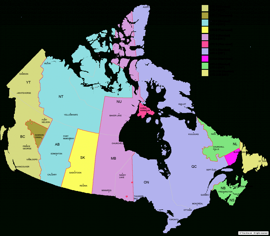 Canada Time Zone Map - With Provinces - With Cities - With Clock - Printable Usa Time Zone Map