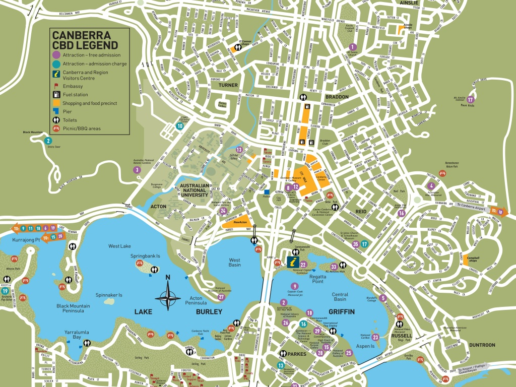 Canberra City Map   Visitcanberra - Printable Map Of Canberra