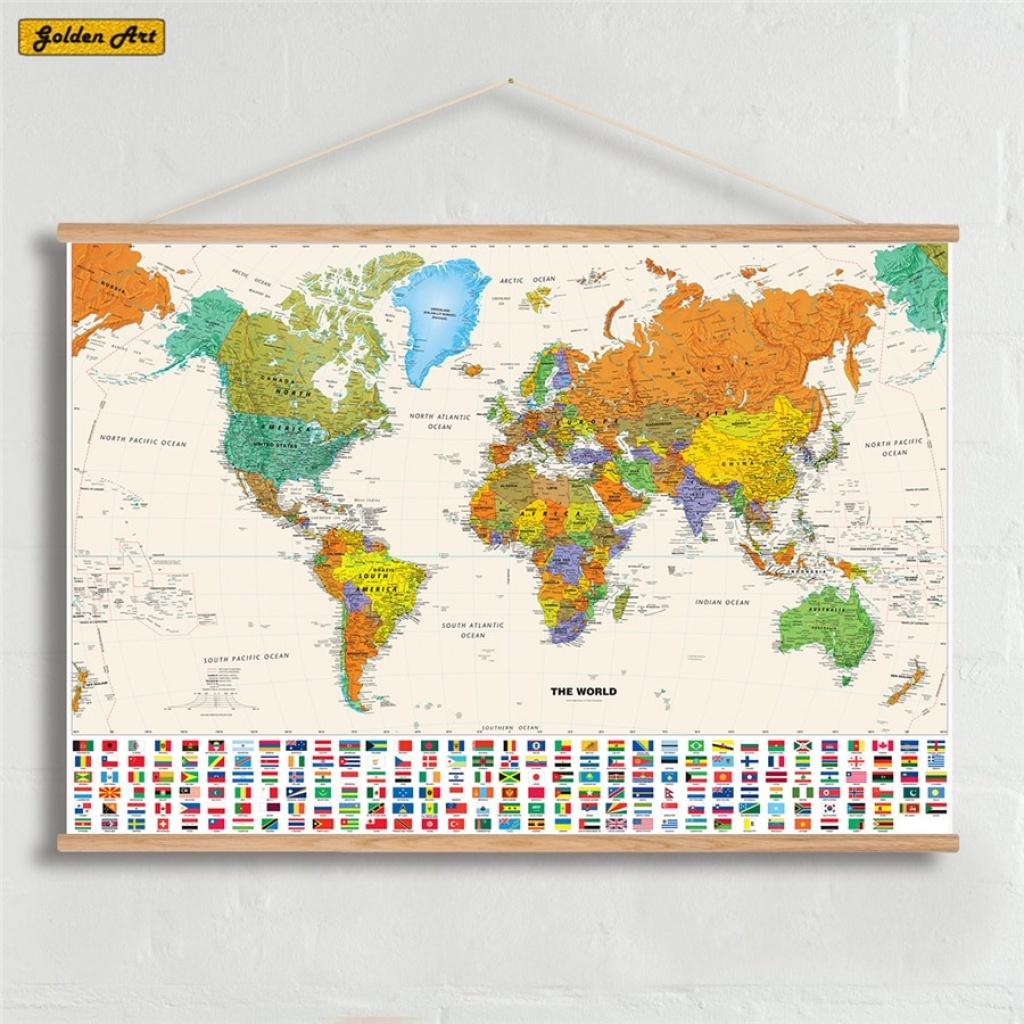 Canvas Olie Prints Schilderen National Geographic World Map Wall Art - National Geographic Printable Maps