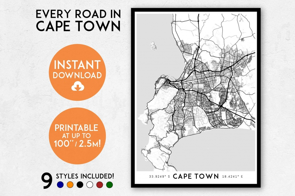 Cape Town Map Print Printable Cape Town Map Art South Africa | Etsy - Printable Town Maps