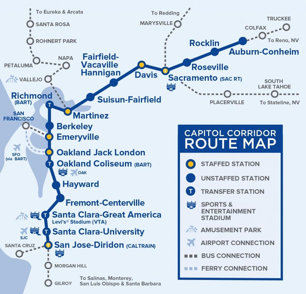Capital Corridor Train Route Map For Northern California - Amtrak Map California