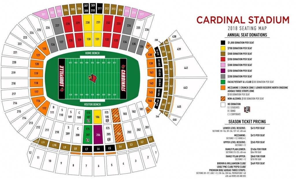 Cardinal Stadium Seating Map - University Of Louisville Athletics - University Of Florida Football Stadium Map