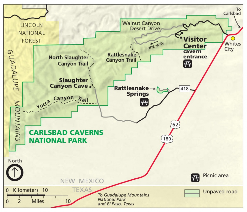 Carlsbad Caverns Maps | Npmaps - Just Free Maps, Period. - Caves In Texas Map