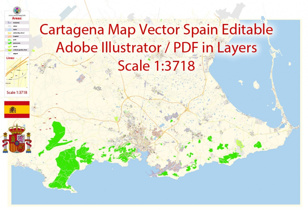Cartagena Pdf Map Vector Spain Extra Detailed City Plan Editable Adobe Pdf  Street Map In Layers - Printable Map Of Spain Pdf