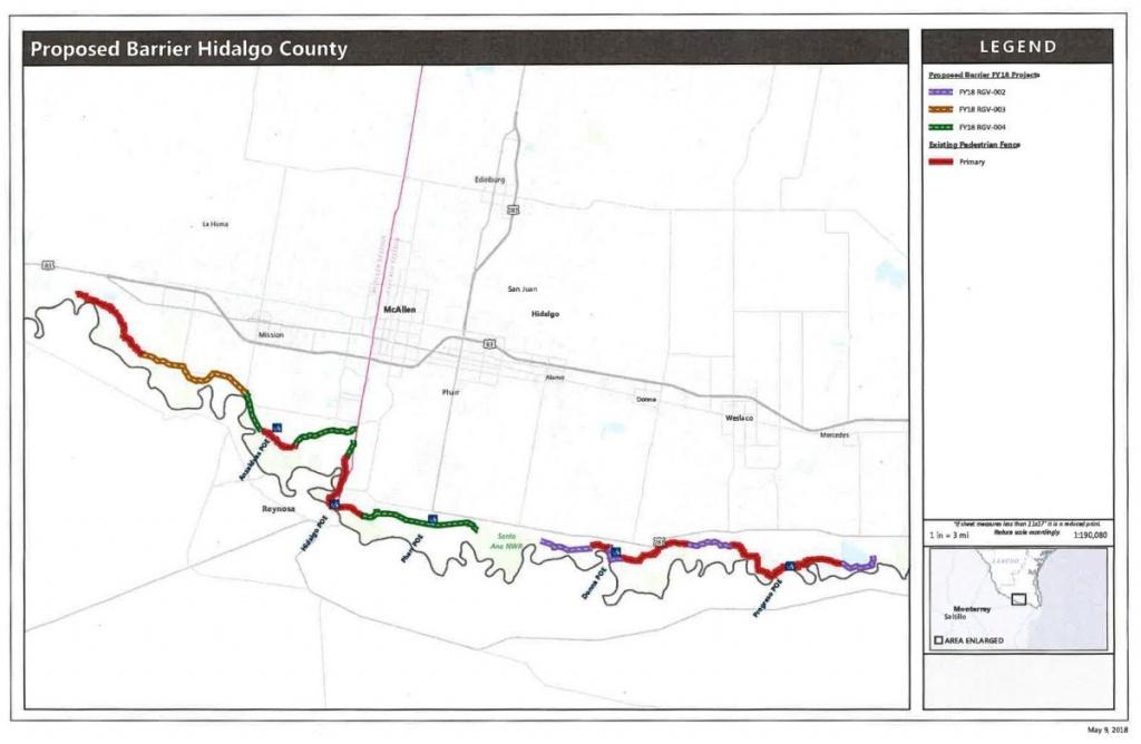 Cbp Map Shows 45 Miles Of Total Border Wall Cutting Through Hidalgo - Hidalgo County Texas Map