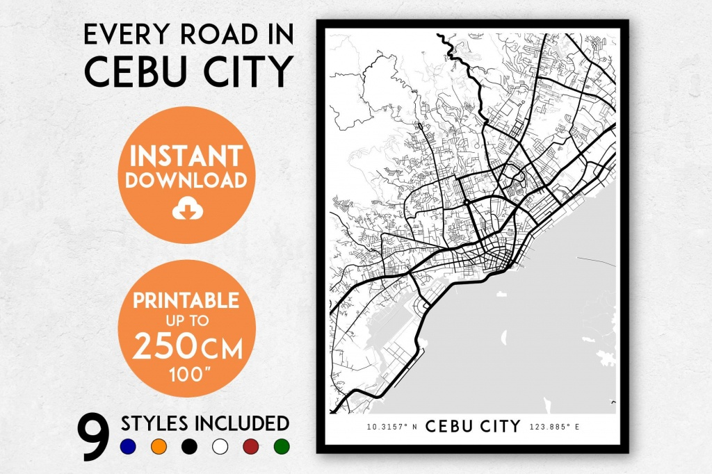 Cebu City Map Print Cebu City Print Cebu City Map   Etsy - Cebu City Map Printable