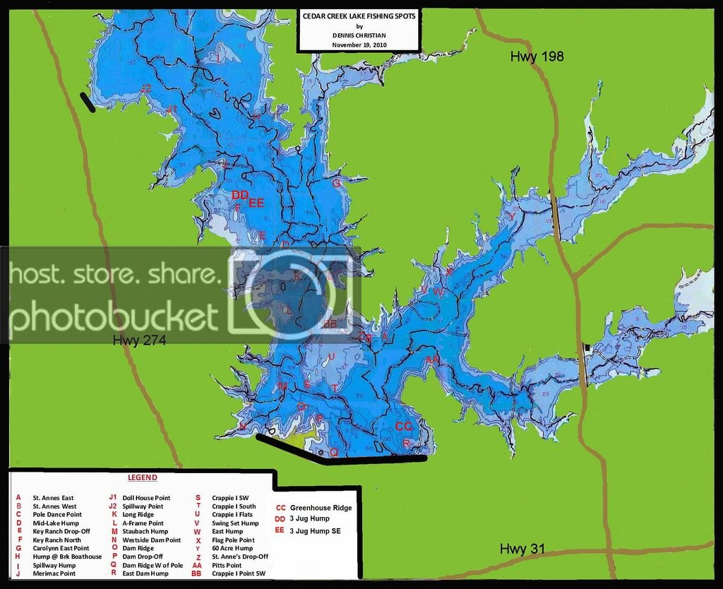 Cedar Creek Lake Map - Texas Fishing Forum - Cedar Creek Texas Map