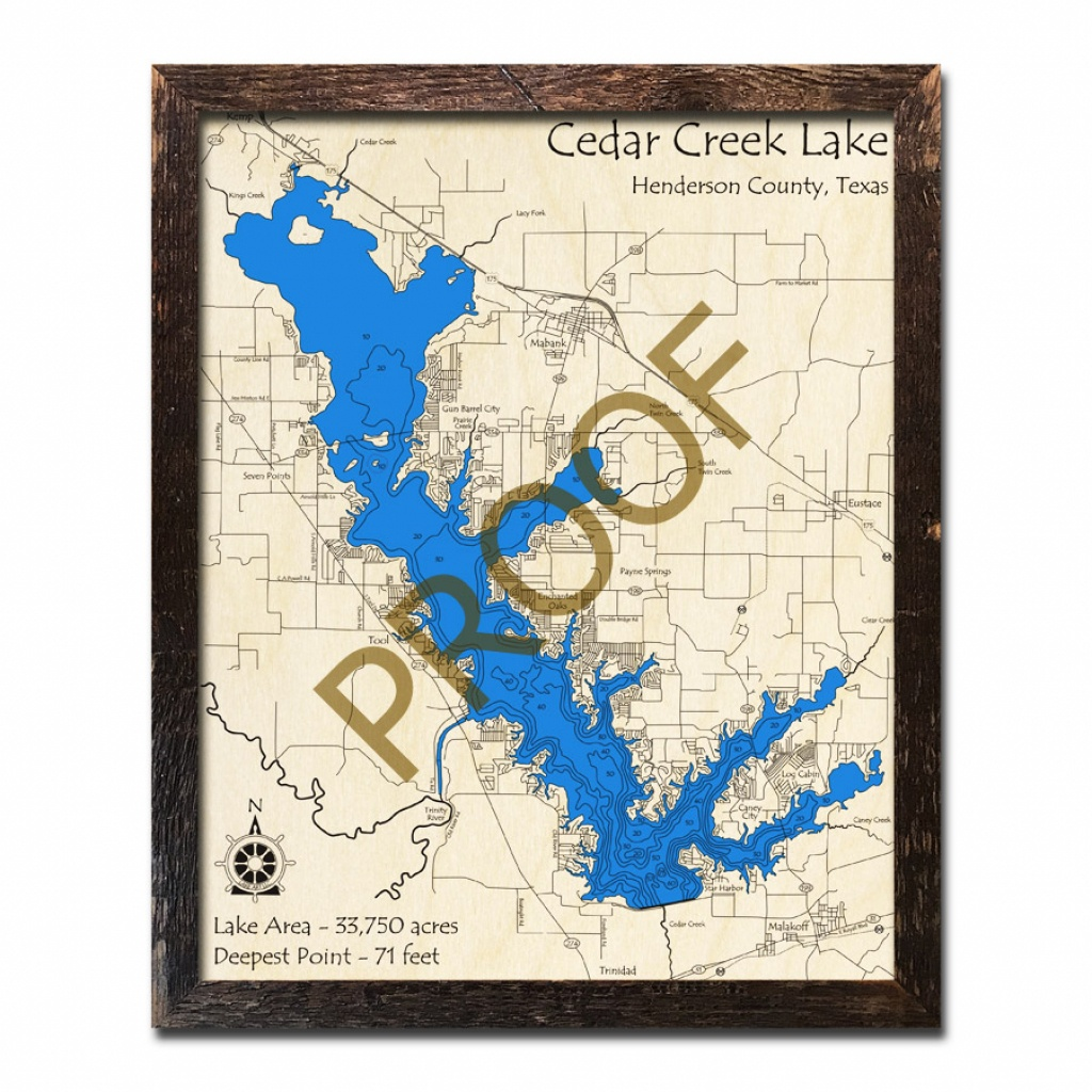 Cedar Creek Lake, Texas 3D Wooden Map | Framed Topographic Wood Chart - Cedar Creek Texas Map