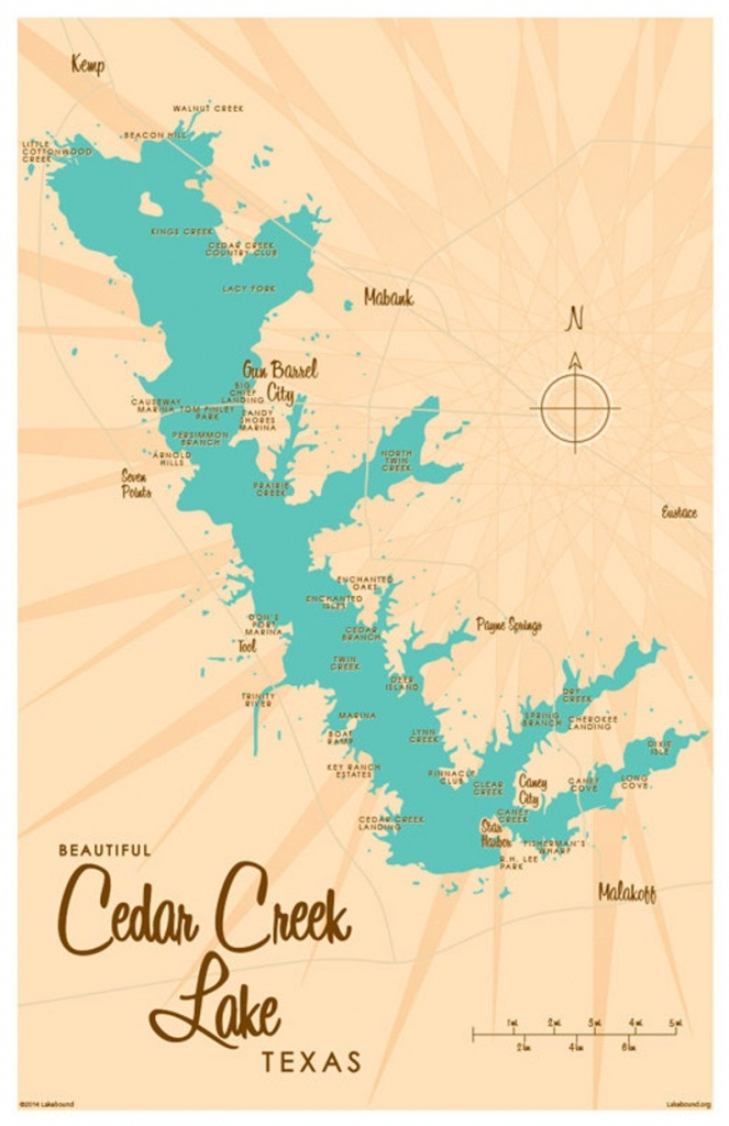 Cedar Creek Lake, Tx Map Art Print - Cedar Creek Texas Map