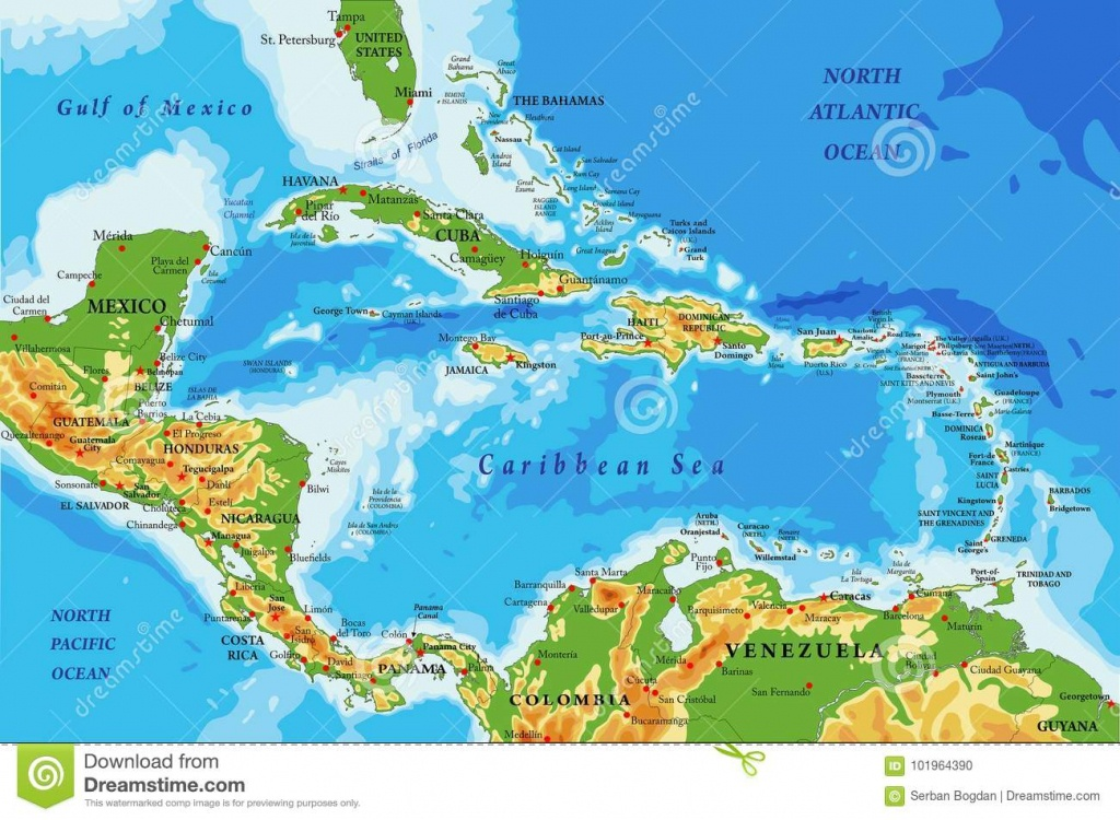 Central America And Caribbean Islands Physical Map Stock Vector - Map Of Florida And Caribbean
