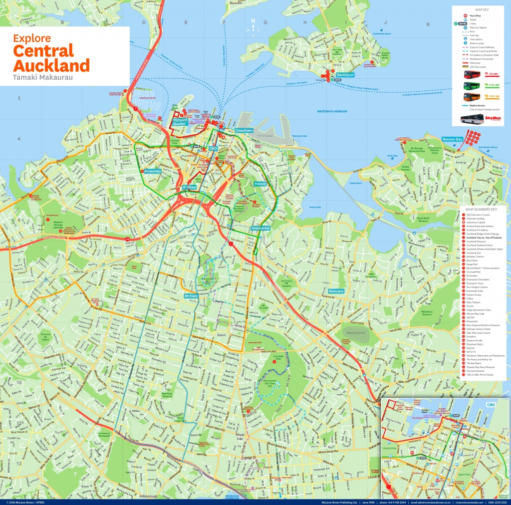 Central Auckland Tourist Map - Printable Map Of Auckland