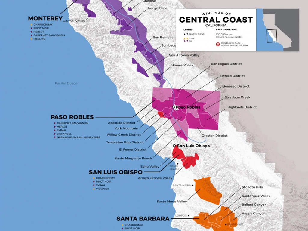 Central Coast Wine: The Varieties And Regions | Wine Folly - Map Of California Wine Appellations