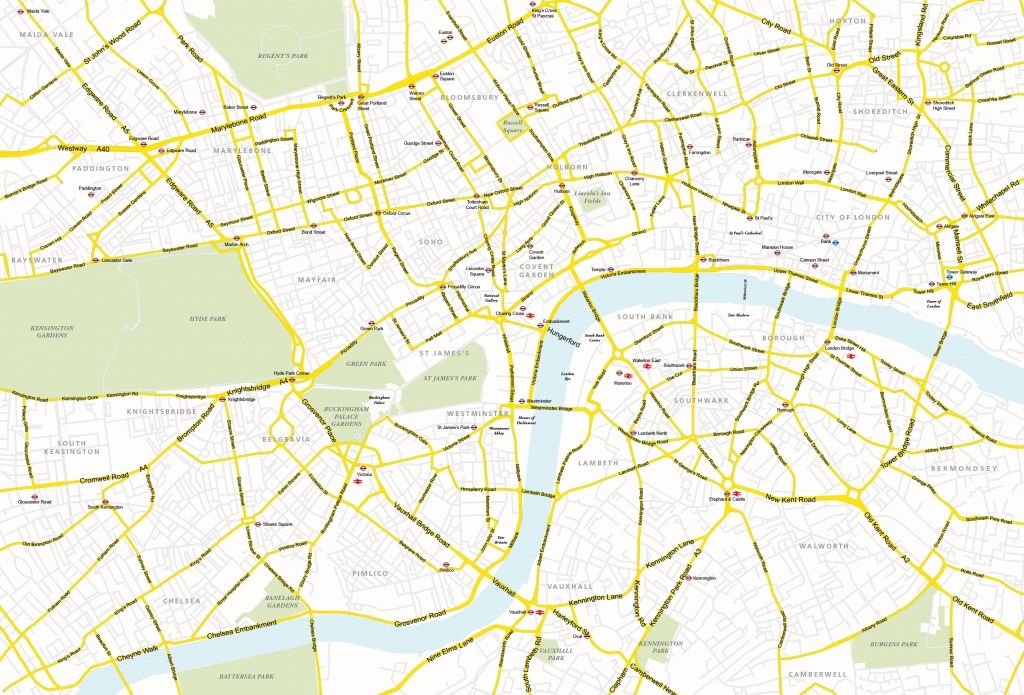 Central London Map - Royalty Free, Editable Vector Map - Maproom - Central London Map Printable