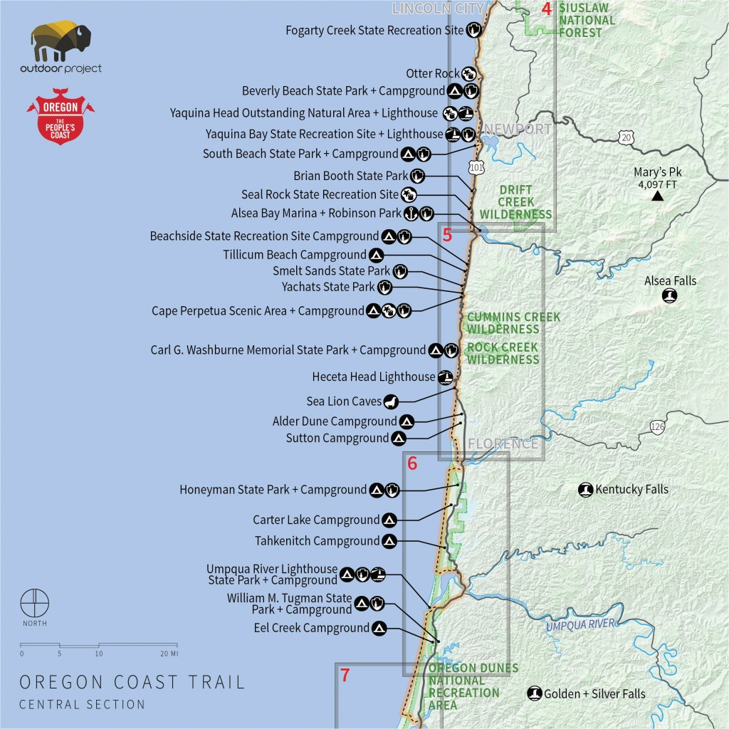Central Oregon Coast Map Camping Oregon Coast Map Secretmuseum - Camping Central California Coast Map