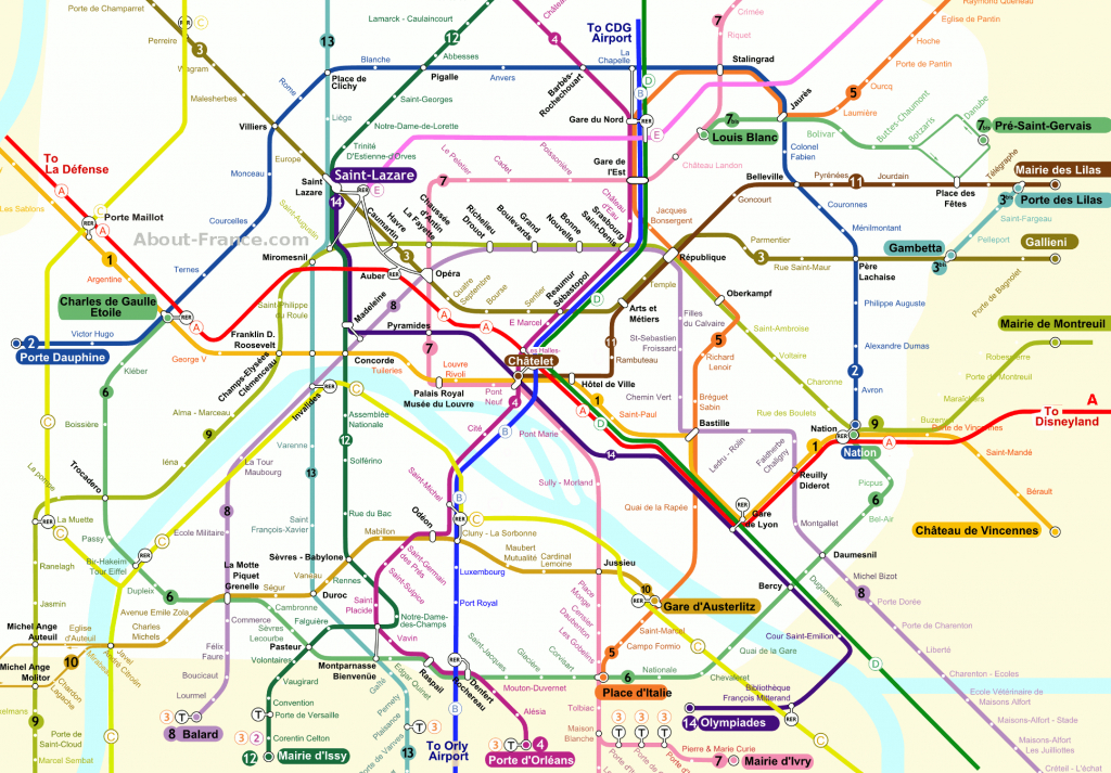 Central Paris Metro Map - About-France - Map Of Paris Metro Printable