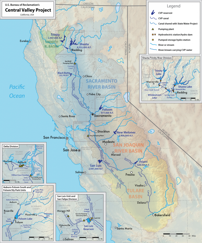 Central Valley Project - Wikipedia - California Reservoirs Map