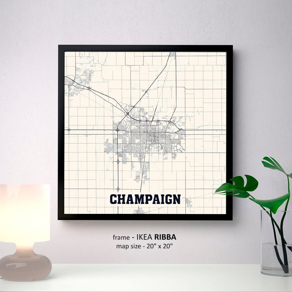Champaign Illinois Map Print Champaign Square Map Poster | Etsy - Printable Map Of Champaign Il