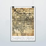 Champaign Urbana Map Print Poster Street Map Illini | Etsy   Printable Map Of Champaign Il