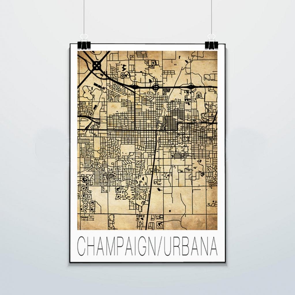 Champaign Urbana Map Print Poster Street Map Illini | Etsy - Printable Map Of Champaign Il