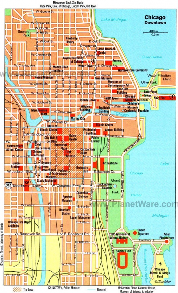 Chicago Downtown Map - Tourist Attractions   Chicago Year Round In - Printable Map Of Downtown Chicago Attractions