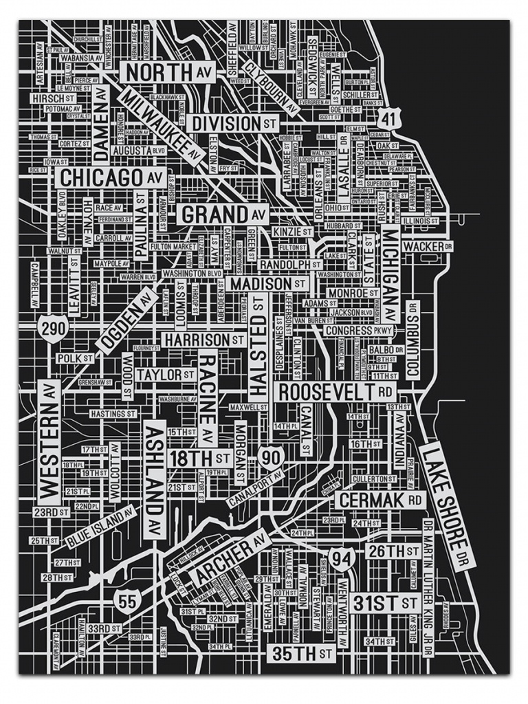 Chicago Illinois Screen Print Where The Buildings   Etsy - Printable Map Of Downtown Chicago Streets